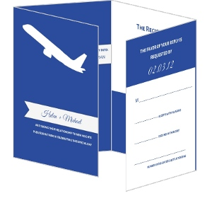 Blue and White Destination Wedding Invitation