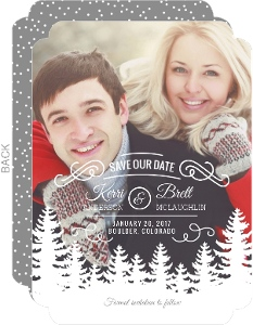 Snow Top Trees Save The Date Announcement