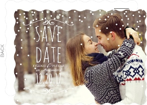 Whimsical Winter Snow Save The Date Postcard