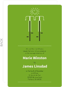 Modern Green Bicycles Themed Wedding Invitation