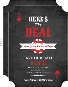 Chalkboard Poker Las Vegas Save The Date Announcement