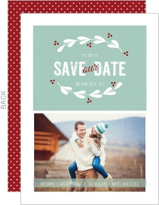 Vintage Berry Wreath Christmas Save The Date Announcement