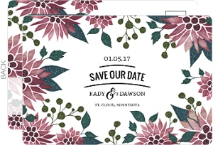 Charming Festive Florals Holiday Save The Date Postcard