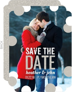 Glistening Snow Winter Save The Date Announcement