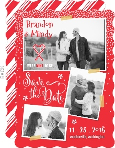 Whimsical Christmas Mint To Be Save The Date Photo Card