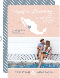 Beachy Mexico Silhouette Save The Date Announcement