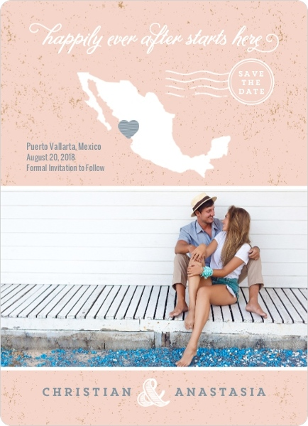 Beachy Mexico Silhouette Save The Date Announcement – Email Wedding Save the Date