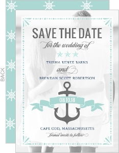 Mint Pastel Nautical Beach Save The Date Announcement