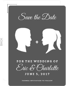 Vintage Silhouette Save The Date Postcard