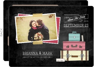 Open Luggage Save The Date Card