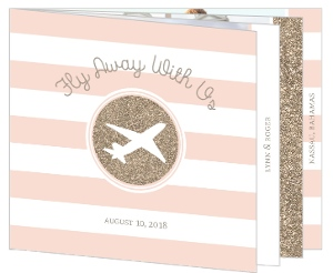 Chic Glitter Plane Destination Booklet Save The Date