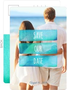 Ombre Ocean Watercolor Destination Save The Date Postcard