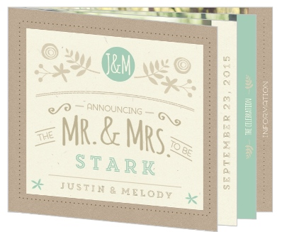 Nature Mint Kraft Wedding Booklet Invitation