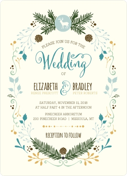 Woodland Rustic Frame Wedding Invitation