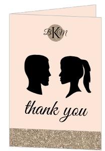 Vintage Silhouette Wedding Thank You Card