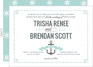 Mint Pastel Nautical Beach Wedding Invitation