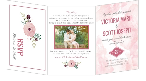 Pink Modern Watercolor Wedding Invitation