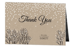 Rustic Winter Snow Wedding Thank You Card