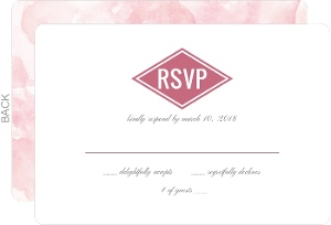 Pink Modern Watercolor Wedding Response Card