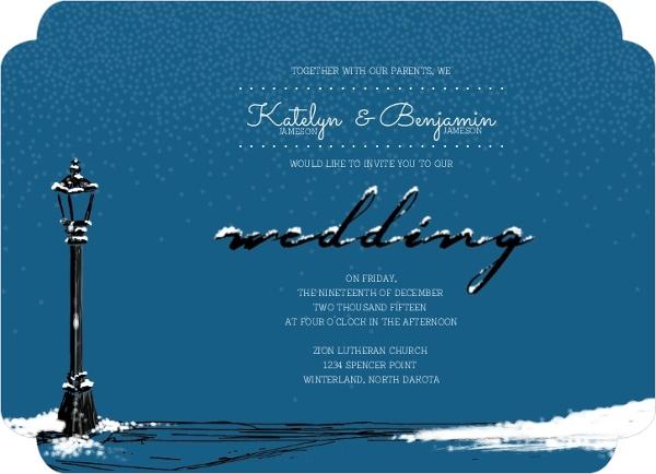 Whimsical Winter Snow Wedding Invitation
