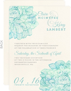 Elegant Watercolor Blooms Wedding Invitation
