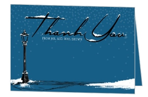 Whimsical Winter Snow Wedding Thank You Card