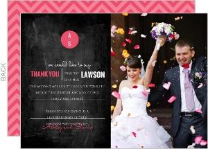 Modern Rustic Chalkboard Wedding Thank You Card