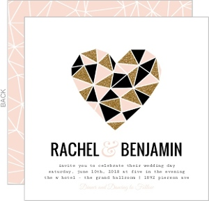 Geometric glitter heart wedding invitation 22957 0 big