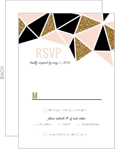 Geometric Glitter Heart Wedding Response Card