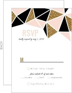 Geometric Glitter Heart Wedding Response Card