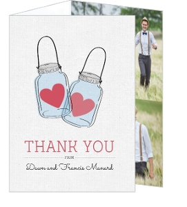 Rustic Love Jar Wedding Thank You Card