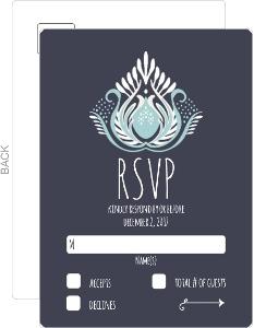 Modern Blue Lotus Flower Wedding Response Card
