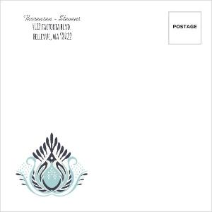 Modern Blue Lotus Flower Wedding Custom Envelope