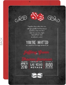 Rustic Dice Las Vegas Wedding Invitation