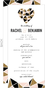 Geometric Glitter Heart Wedding Program