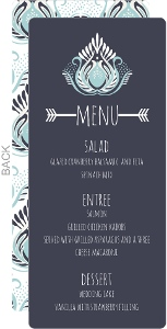 Modern Blue Lotus Flower Wedding Menu