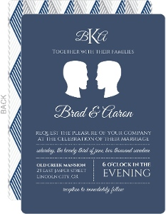 Simple Silhouette Gay Wedding Invitation