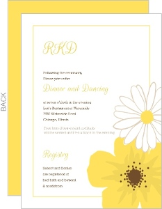Classic Yellow Flower Wedding Reception Card