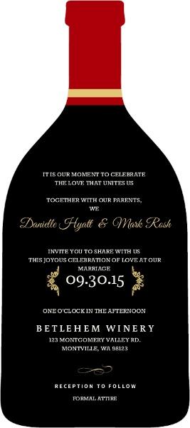 Elegant Wine Bottle Wedding Invitation