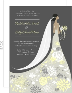 Floral Silhouette Wedding Invitation