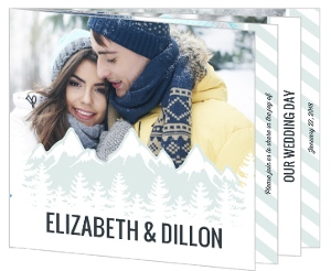 Scenic Winter Mountain Booklet Wedding Invitation