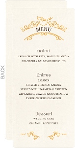 Hand Crafted Autumn Leaves Wedding Menu