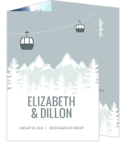 Scenic Winter Mountain Wedding Program