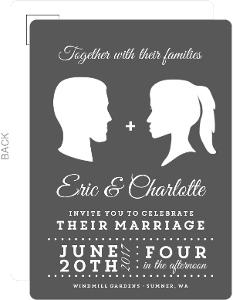 Vintage Silhouette Wedding Invitation Postcard