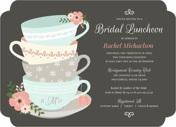Whimsical Tea Cups Bridal Shower Invitation Bridal Shower