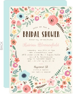 Whimsical Floral Garden Frame Bridal Shower Invitation
