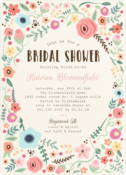 whimsical floral garden frame bridal shower invitation - Wedding Shower Invites