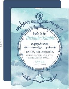 Anchors Away Watercolor Bridal Shower Invitation