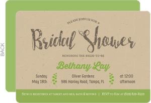 Green & Rustic Kraft Bridal Shower Invitation