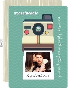 Vintage Camera Hash Tag Save The Date Card